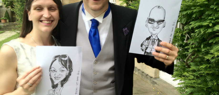 Live caricatures at a wedding